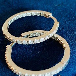 Genuine Diamond hoop in/out earrings white gold